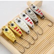 6 uds Mini señuelo de Metal 1,5g 3g 5g cebo duro punto rojo luminoso 6 colores aparejos de pesca con mosca Wobblers isca pesca artificial cuchara