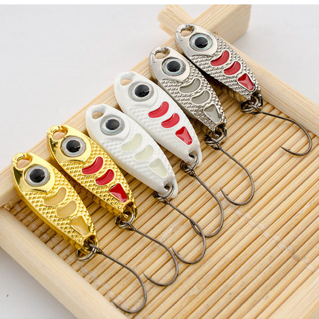 6Pcs Mini Metal Lure 1.5g 3g 5g Hard Bait Red Point Luminous 6 Colors Fly Fishing Tackle Wobblers isca artificial Spoon Fishing