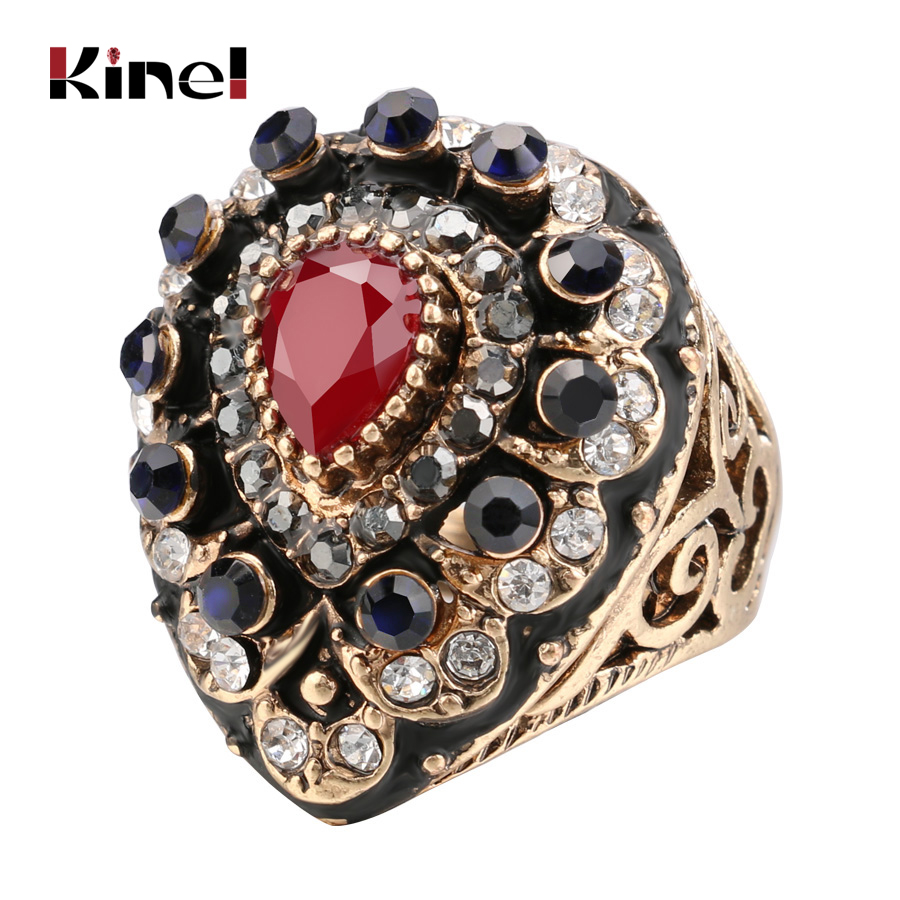Kinel Arrived Vintage Wedding Rings Antique Gold Crystal Turkish Jewelry Accessories Water Drop Ring