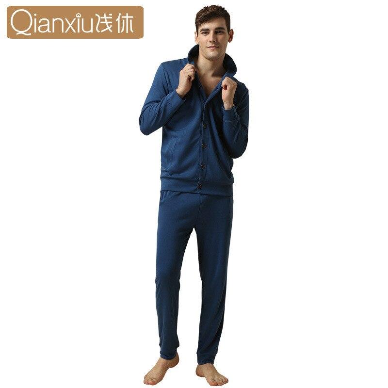 Qianxiu Spring&autumn Women Sleepwear Sets Casual V-neck Couple Pyjamas Sets Cotton Cardigan Long Sleeve Pajamas Homewear 2017
