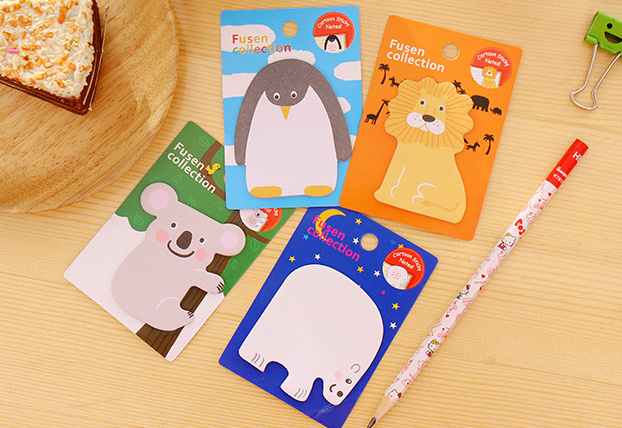 Cartoon animals sticky notes penguin memo pad sstick post it kawaii stationery school office supplies papeleria