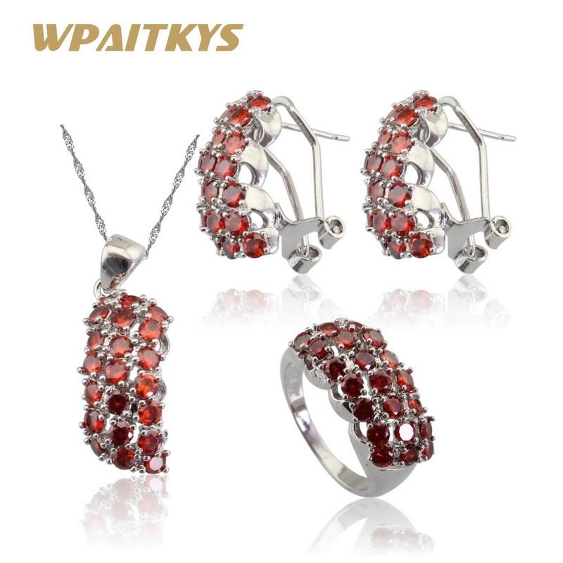 Stříbrné sady šperků pro ženy Tmavě červený zirkonový náhrdelník přívěsky prsteny obruč náušnice zdarma dárková krabička WPAITKYS