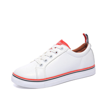 2017 Spring New Brand Women Fashion White Flat Shoes High Quality PU Material Star Shoes Breathable Soft Female Lace-Up Shoes