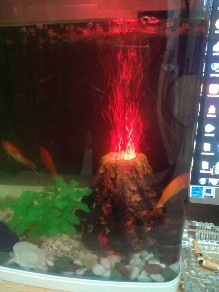 Hot sales 16.5 cm L aquarium nacht decoratie aquarium geleid pomp vulkaan kit zuurstof buis lucht steen bubbles nieuwe