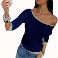 2016 Новая Коллекция Весна Сексуальные Женщины С Длинным Рукавом Свободные Повседневная С Плеча рубашка Тис Топы Многоцветный Женщин Плюс Размер Футболки