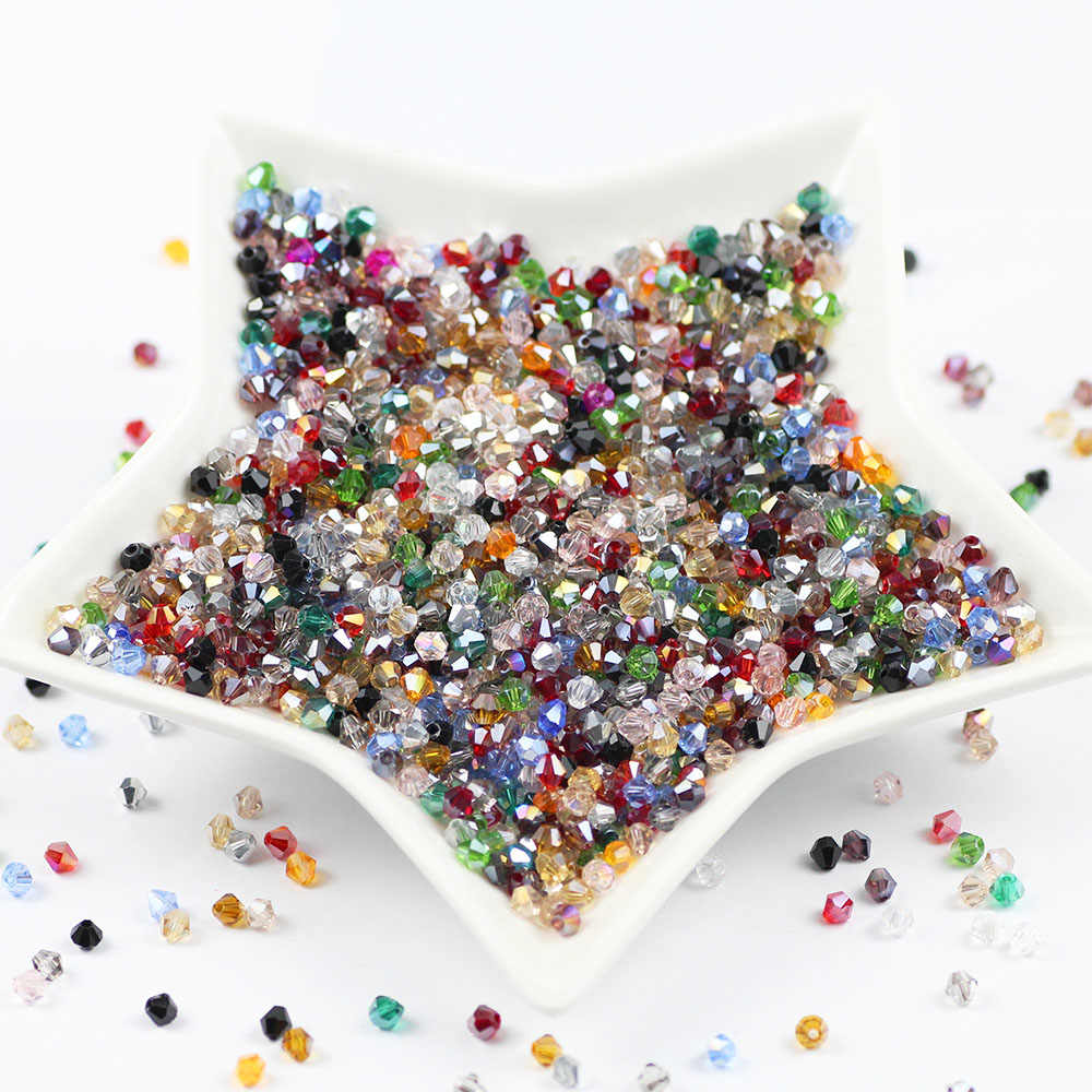 Wholesale 44 colors 100pcs 4mm Bicone Austria Crystal Beads charm Glass Loose Spacer Beads for DIY Jewelry Making accessories