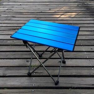 Image 2 - Mesa plegable portátil, plegable, para Camping, barbacoa, senderismo, azul, Mini para mochila, escritorio, viaje, pícnic al aire libre, aleación de aluminio, ultraligero