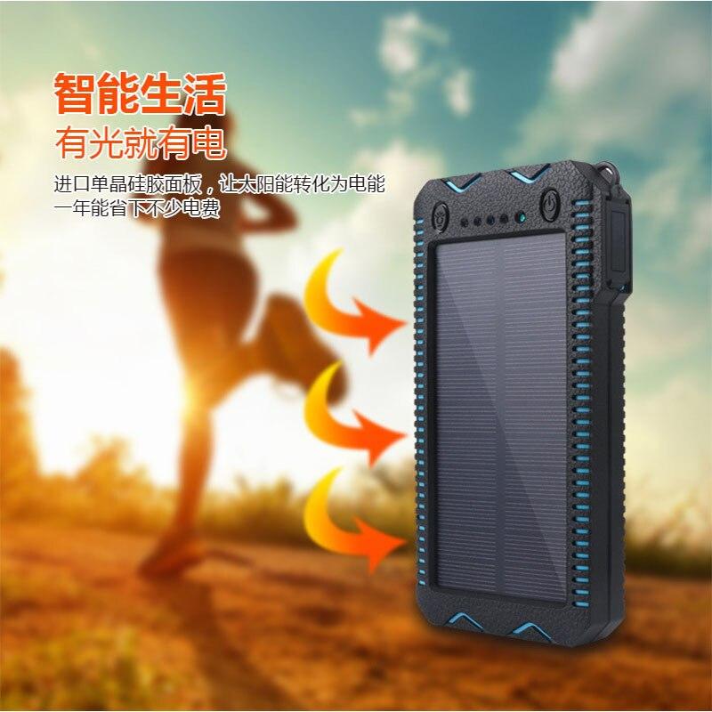 imágenes para Portable Solar Power Bank 20000 mah Para Xiaomi 2 Iphone Cargador Powerbank Batería Externa Impermeable Dual USB Con Linterna