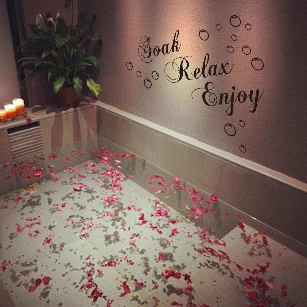 1 pcs diy wall art kitchen stickers bathroom bedroom quote vinyl soak relax enjoy bath decor 49x29cmin wall stickers from home u0026 garden on