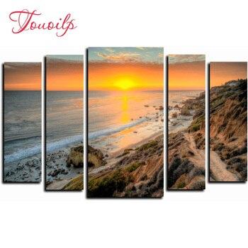 5pcs,Full square&round DIY Sunset seascape Diamond Painting Cross Stitch Diamond Embroidery Patterns rhinestones Diamond Mosaic
