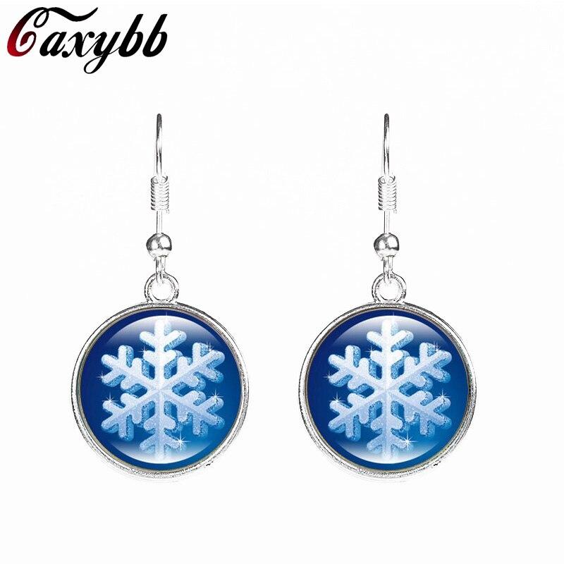 ⊱Caxybb copo de nieve patrón Navidad Pendientes arte de cristal ...
