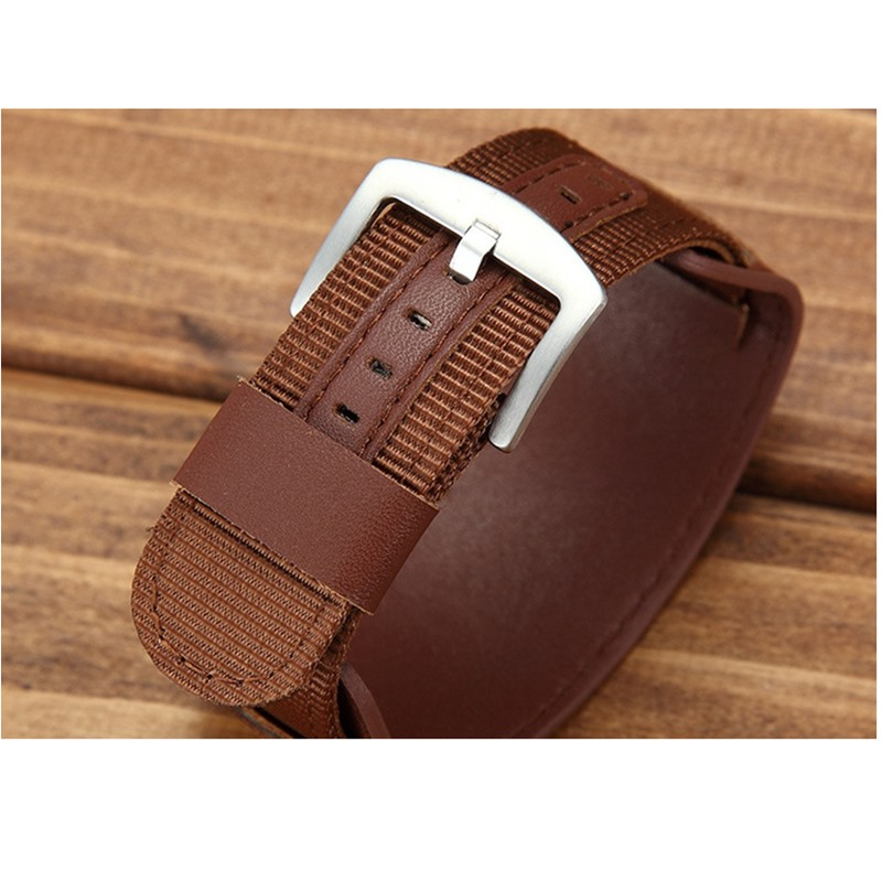 Universal Nylon Armband Leder Futter Armband 18mm 20mm 22mm 24mm - Uhrenzubehör - Foto 3