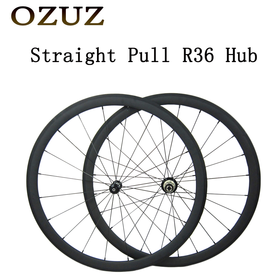 OZUZ 700c Clincher Tubular Carbon Straight Pull R36 Wheels 38mm Bicycle Wheelset Carbon Racing Road Bike Wheels 1350g 38mm clincher straight pull racing road bike carbon wheels bicycle carbon wheelset for r36 hub