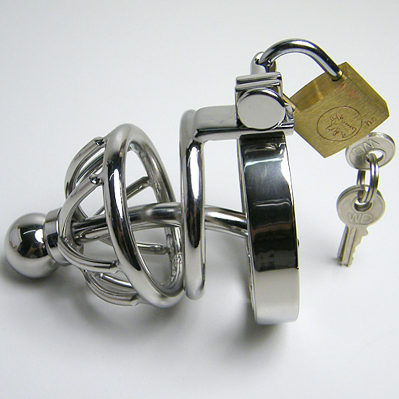 Male Chastity Device Stainless Steel Chastity Belt Metal Cock Cage With Removable Urethral Sounding Penis Ring Sex Toys
