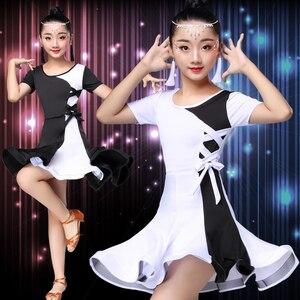 Image 2 - 白黒ラテンダンスの競技会ドレスラテンダンスのドレス子供ラテンダンス衣装子供