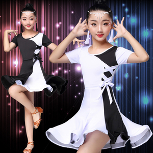 Image 2 - White black latin dance competition dresses latin dance dress for girls kids latin dance costume for girls kids