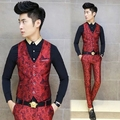 2015 Europa Vestido de Diseño Hombres Blazer Chaleco Colete masculino Trajes Slim Fit Chaleco Chalecos de Moda Impreso Floral de Color Rojo Azul Marino
