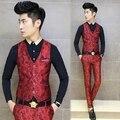 2015 Europe Dress Design Men Blazer Vest Slim Fit Suits Waistcoat Vests Fashion Floral Printed Colete Masculino Color Red Navy