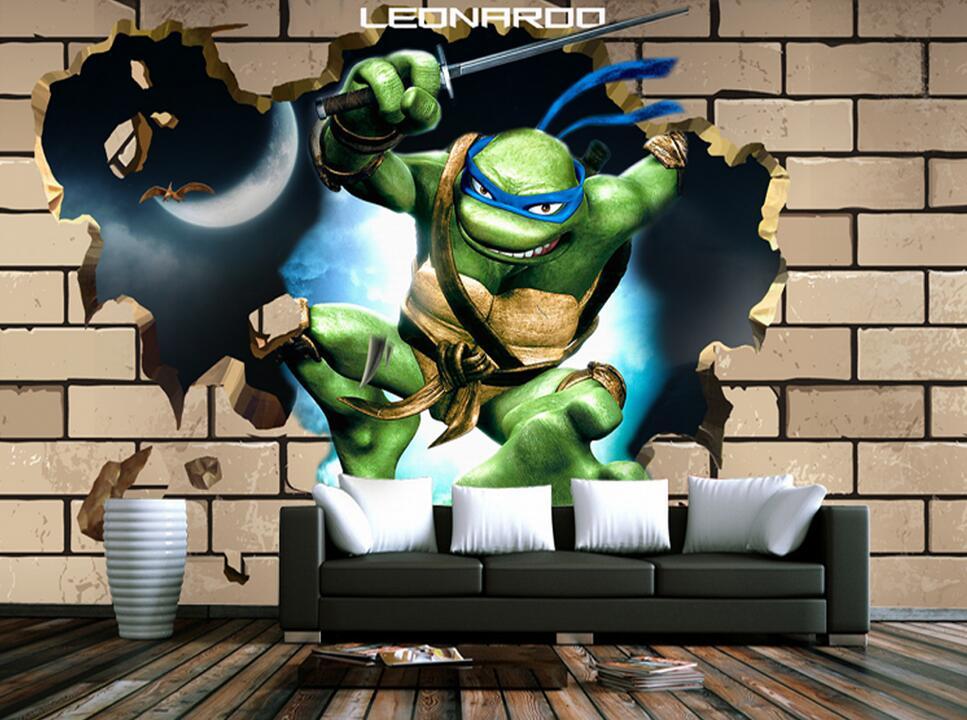 3d Wallpaper For Living Room Wall Custom Children Wallpaper Teenage Mutant Ninja Turtles