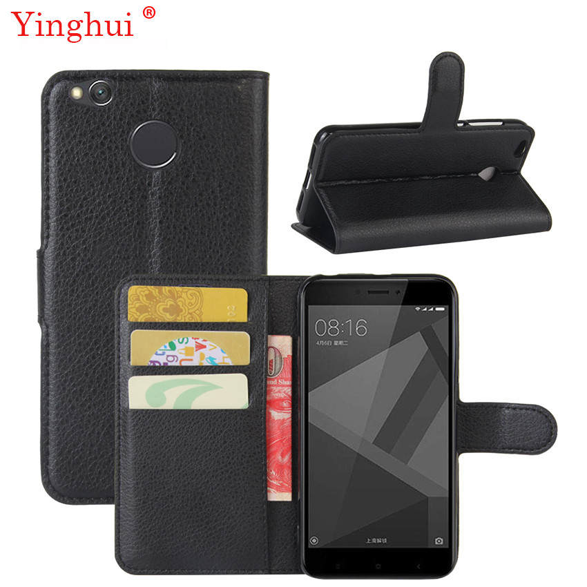 Xiaomi Redmi 4X Case Hight Quality Flip Կաշվե տուփի համար Xiaomi Redmi 4X 4 x Fashion Stand Կափարիչ Xiaomi Redmi 4X- ի համար