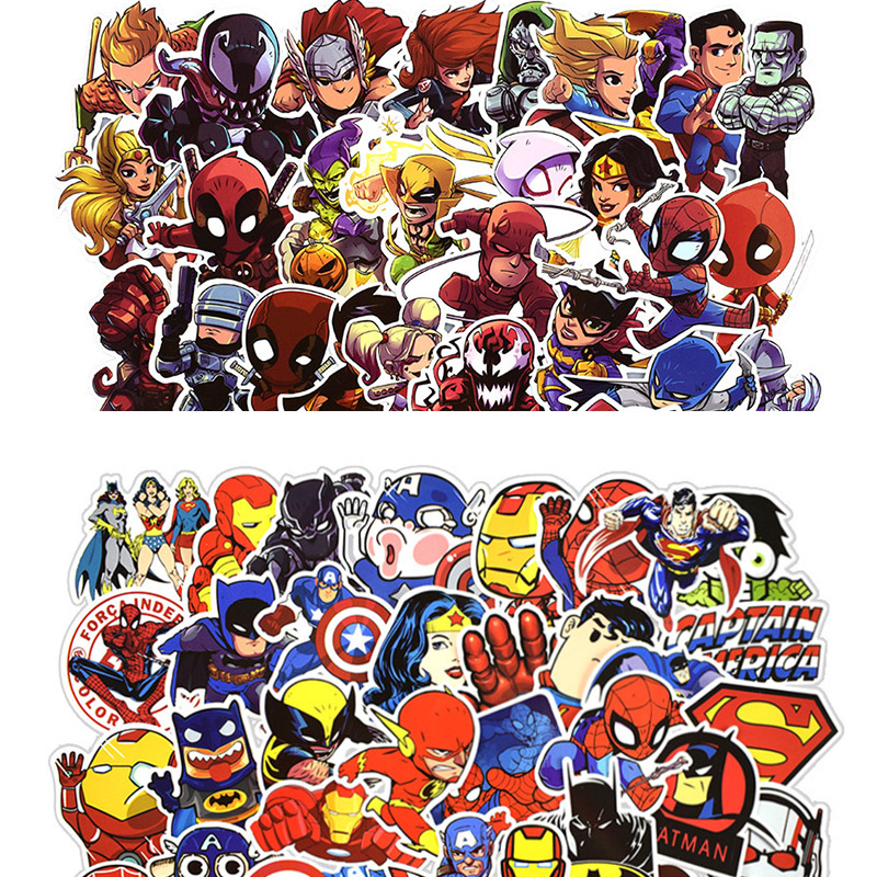 50 Pcs/pack Super Hero Style Unicorn Stickers For Computer PS4 Pad Phone & Suitcase Cool Laptop Stickers Skateboard Sticker