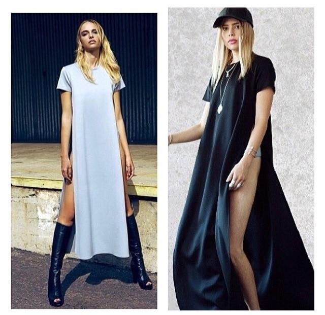 16832fe74 Size S-XL WOMENS high side slit LONG MAXI CASUAL BEACH summer BASIC TEE  DRESS
