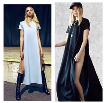 Size S-XL WOMENS high side slit LONG MAXI CASUAL BEACH summer BASIC TEE DRESS
