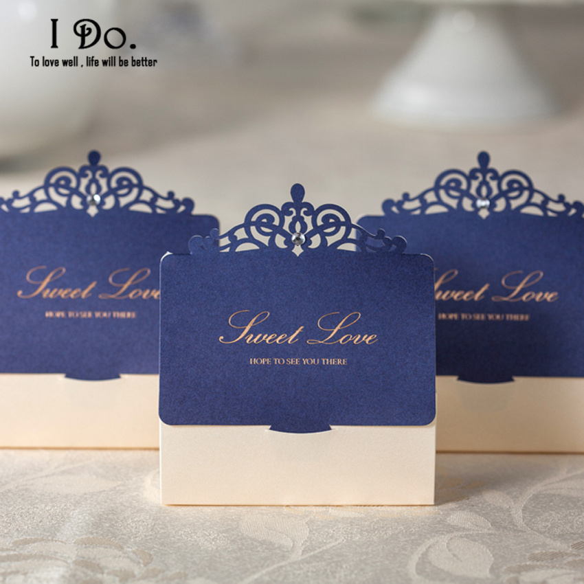Free Shipping 10pcs Royal Blue Laser Cut Wedding Favor Bo Candy Box Casamento Favors