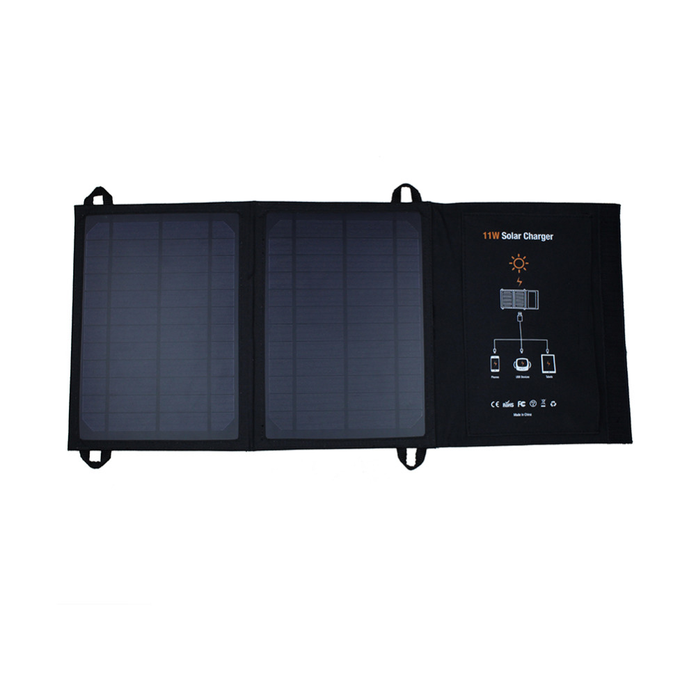 Foldable 11w Solar Charger With Dual Usb Ports Powerbank