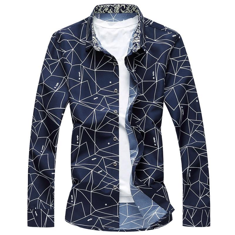 M-6XL Dress Shirt Men 2020 Autumn Button Down Geometric Printing Long Sleeve Casual Shirts Plus Size Camisa Social Masculina