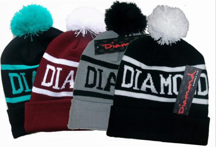 2019 New Diamond brand   Beanie   Hat Popular   Skullies     Beanies   Men Women Winter Knit Letter Cap 4 Colors Gorras Free Shipping MZ017
