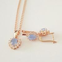 New Luxury Necklace   Set     Fashion   Women Wedding Gold   Jewelry   Heart Shape 585 Rose Gold Bridal Earring + Necklace   Jewelry     Sets