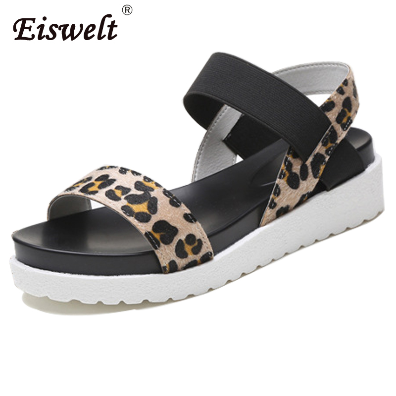 Eiswelt Hot Women Sandals Female Summer Casual Flat Shoes Roman Sandals mujer sandalias Lady Flip Flops Sandal Footwear#EGMJ110 lucyever women vintage square toe flat summer sandals flock buckle casual shoes comfort ankle strap women footwear mujer zapatos