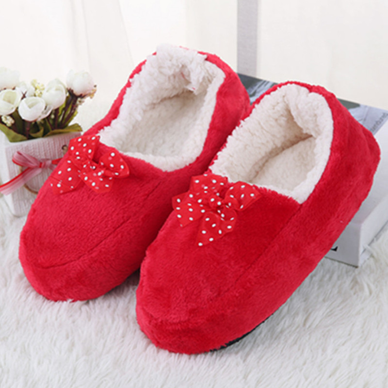 Exclusive Cheap Wholesale New Women's Bow Cotton Slippers Warm Plush Indoor Shoes Non-slip Soft Bottom Home Floor Slippers soft house coral plush slippers shoes white