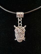 20pcs Tibetan Silver Pretty Cute Owl Fashion Simple Pendant Necklace Black Rubber CORD XL11125D