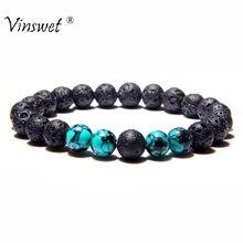 Браслеты из натурального камня мужские черные вулканическая лава бусины Будда, йога браслеты для женщин мужчин ювелирные изделия ручной работы подарок