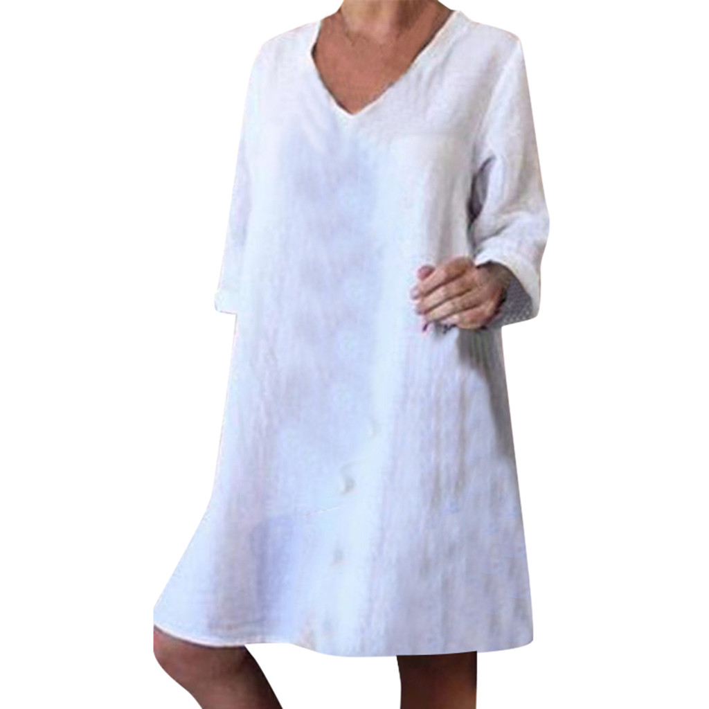 Women Plus Size Casual Summe Dress 2020 Solid Full Sleeve V-Neck Easy Loose Beach Dress Holiday Party Streetwear White Dress