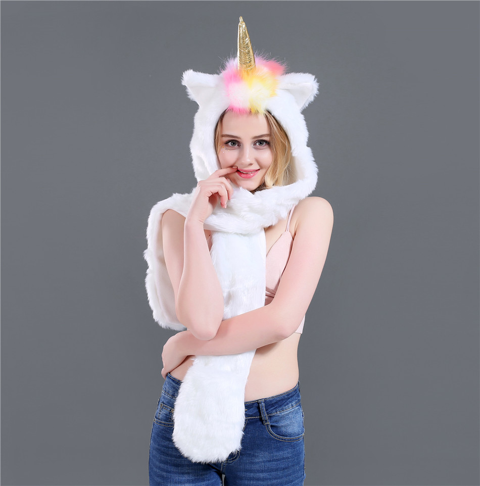 New Fashion Autumn And Winter Unicorn Three Pieces Set Faux Fur Hat Plush Cartoon Animal Hat Hat Scarf Gloves One SN51 (6)