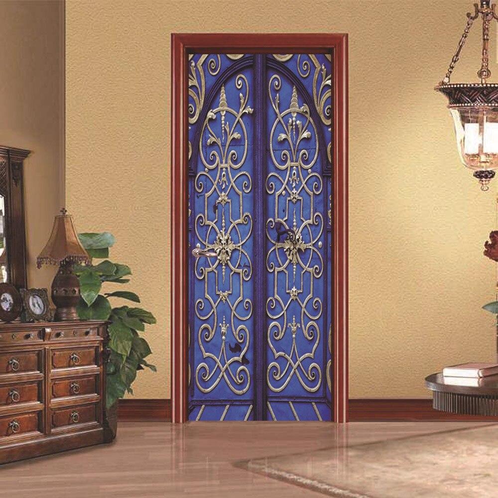 2 Pcs Set 3D Retro Old Wooden Door Wall Stickers Home Decor 70 200cm DIY Door
