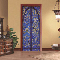 2 Pcs Set 3D Retro Old Wooden Door Wall Stickers Home Decor 70 200cm DIY Door