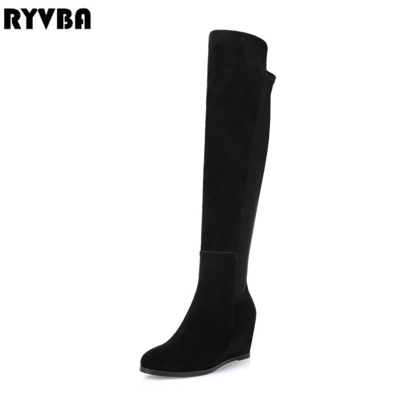 RYVBA woman fashion thigh high over the knee boots women autumn winter ladies female sexy nubuck suede leather womens shoes ryvba woman knee high snow boots fashion thick plush warm thigh high boots winter boots for women shoes womens female sexy flats