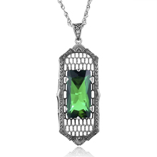 Wholesale Vintage Royal Token Green CZ Rhinestone Genuine 925 Sterling Silver Pendant Necklaces For Women Wedding Accessories