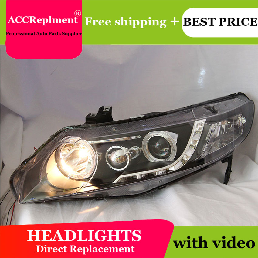 AUTO.PRO For Honda Civic led headlights xenon for Honda Civic 2006-2011 car styling LED guide DRL+H7 HID Kit+Q5 bi xenon lens hireno car styling headlamp for 2011 15 honda civic headlight assembly led drl angel lens double beam hid xenon 2pcs