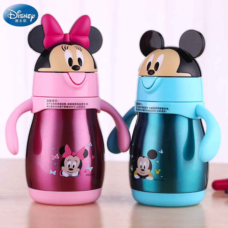 Disney GX-5947 Baby Stainless Steel Thermos Feeding Cup Learn Drinking Cup with Straw Thermal Bottle Leak-poof Vacuum Flask a07 stainless steel vacuum flask bottle cup blue silver 300ml