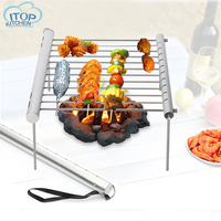 Portable BBQ Grill Stainless Steel Folding Barbecue Accessories Mini BBQ Pocket for Camping Picnic BBQ Barbeque Tool