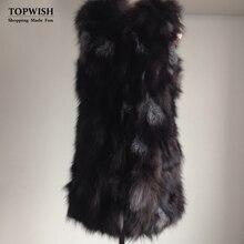 Новое поступление длинные женские натуральный Лисий мех жилет Высокая мода натуральный мех длинный жилет TFP625