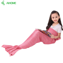 Children Yarn Knitted Mermaid Tail Blanket Handmade Crochet Mermaid Blanket Throw Bed Sofa Wrap Lovely Sleeping