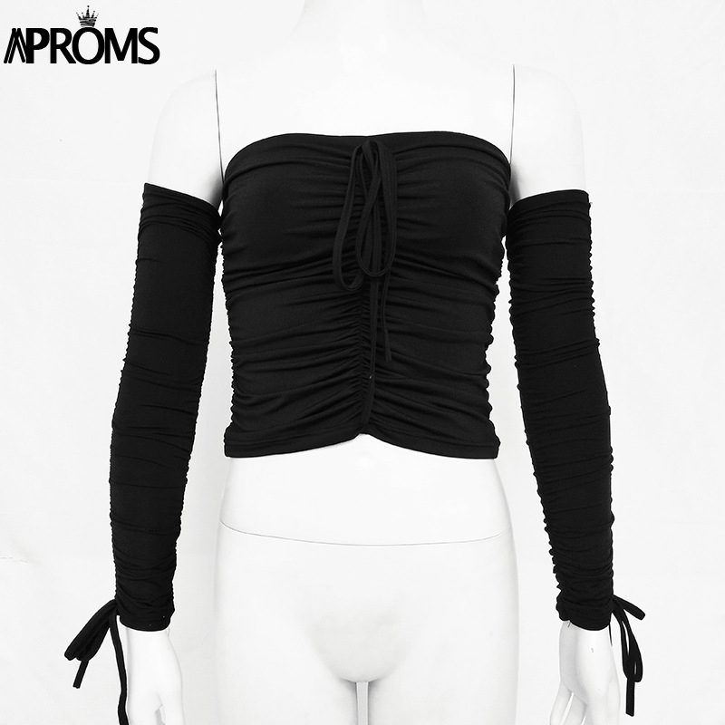 Aproms Coolest Off Shoulder Crop Tops Casual Ruched Pleated White T-shirt Women Short Sleeve Cropped Tshirt for Women Clothing 12