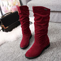 Autumn Winter Women Boots Shoes Ladies Long Sweet Boot Stylish Flat Flock Shoes Snow Boots Female Keep Warm High Quailty Fashion