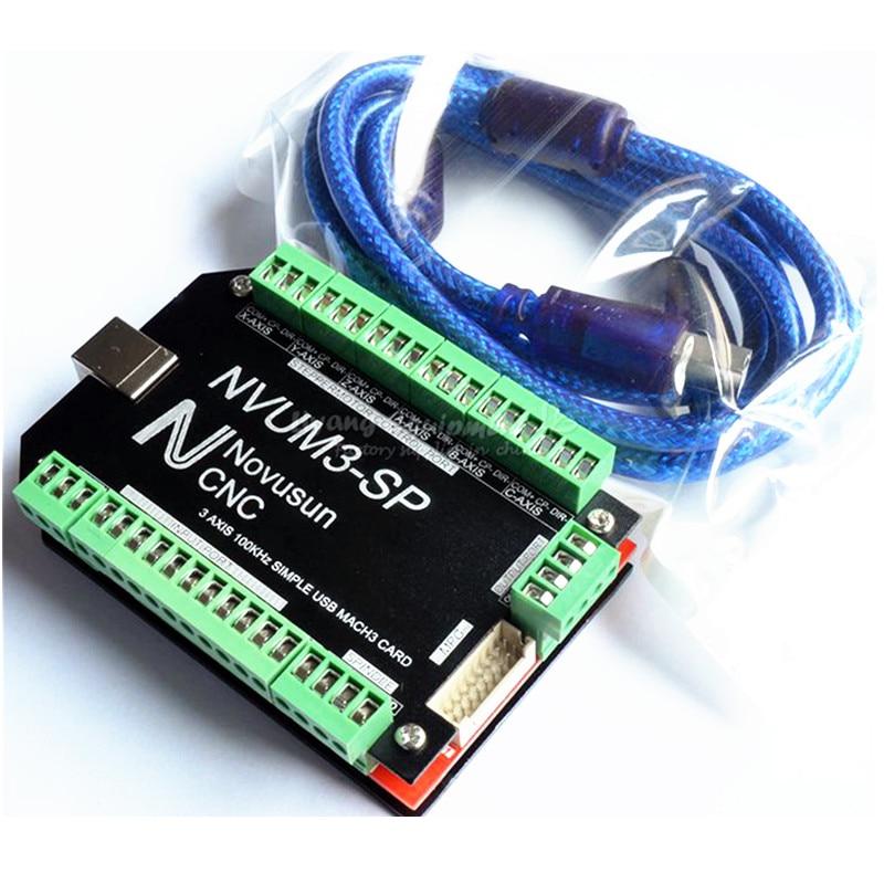 цена на NVUM 5 Axis cnc machine Mach3 USB Card wood router 3 4 6 Axis lathe Motion Control Card Breakout Board